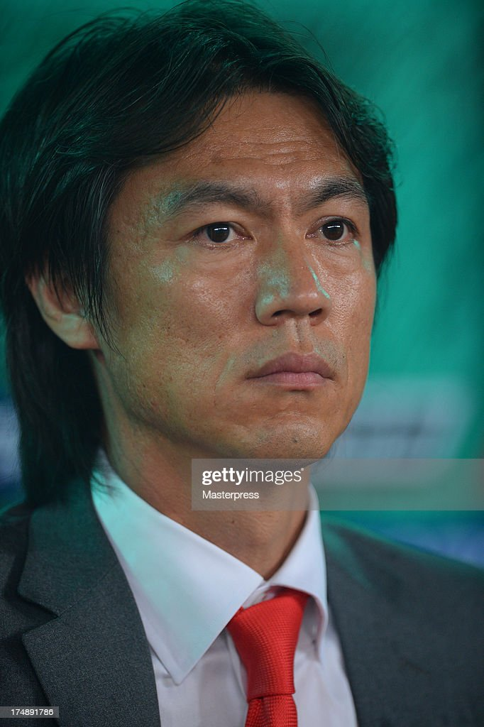 South Korean manager Hong Myung-bo looks on during the EAFF East Asian Cup match between Korea Republic (South Korea) and Japan at Jamsil Stadium on July 28, 2013 in Seoul, South Korea.