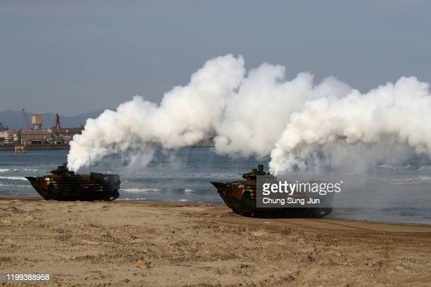South Korean Marine's Assault Amphibious Vehicle move their position during a marine's winter training camp course at a Pohang seashore military base...