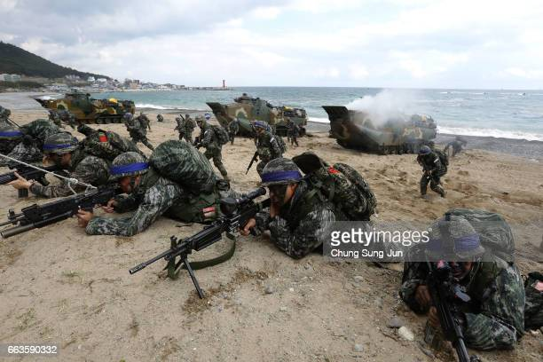 South Korean marines participate in landing operation referred to as Foal Eagle joint military exercise with US troops Pohang seashore on April 2...