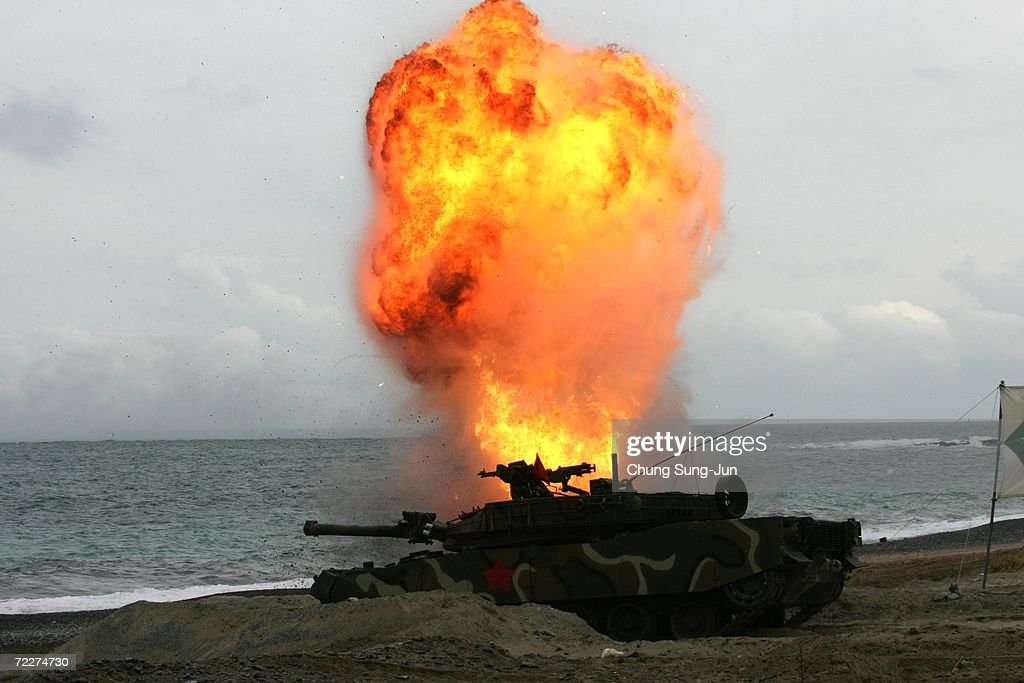 South Korean marines take part in a landing exercise in preparation for possible threats from North Korea at Pohang beach on October 26, 2006 in Pohang, South Korea. South Korea will be enforcing U.N. sanctions after North Korea tested its nuclear capabilites in an underground blast on October 9.