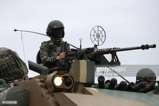 South Korean Marines take part in a military exercise on April 5 2018 in Pohang South Korea US and South Korea marines conducted the combined...