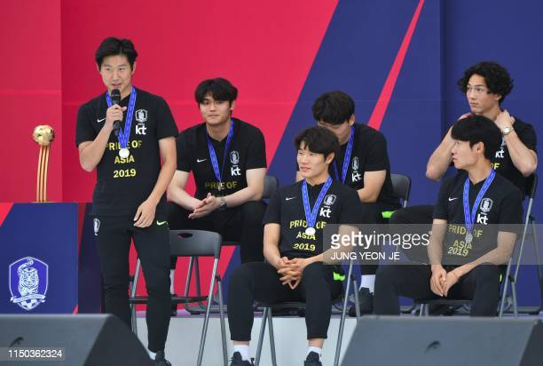 South Korean midfielder Lee Kangin the 2019 FIFA U20 World Cup Golden Ball winner speaks during a welcoming ceremony for the South Korean U20 World...