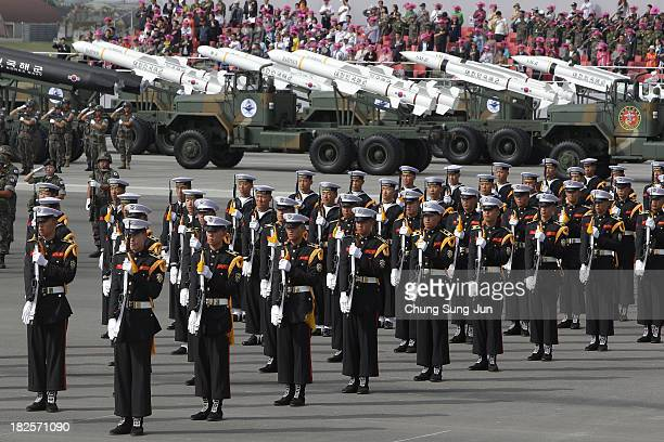 South Korean military parade during the 65th South Korea Armed Forces Day ceremony at Seongnam Military Airbase on October 1 2013 in Seongnam South...