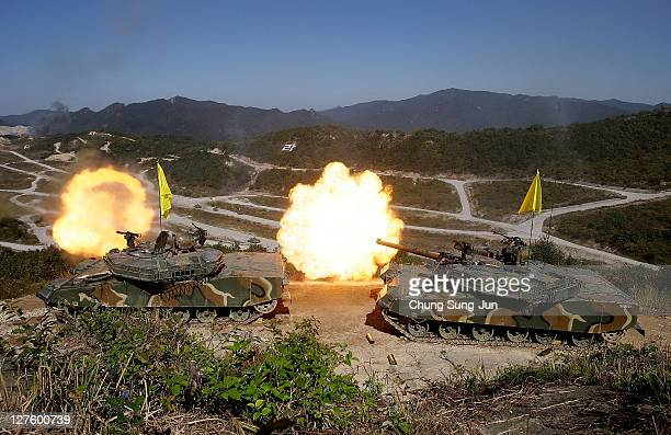South Korean military soldiers take part in the South Korea and US joint military exercise to commemorate the 63th Korea Armed Forces Day at the...