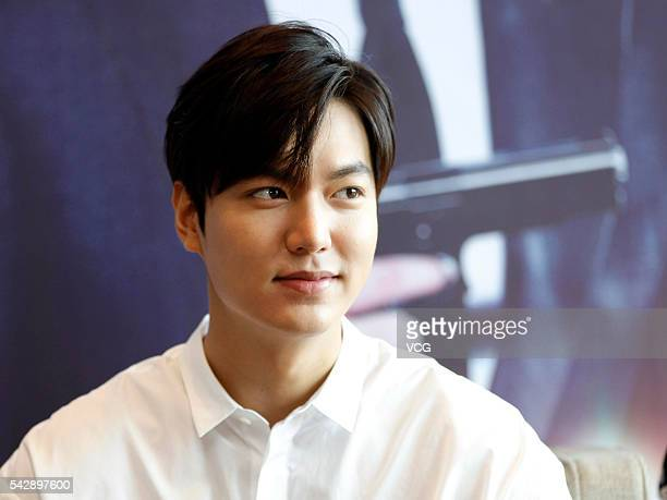 South Korean model and actor Lee Min Ho attends a press conference for the new movie Bounty Hunters on June 24 2016 in Fuzhou Fujian Province of China