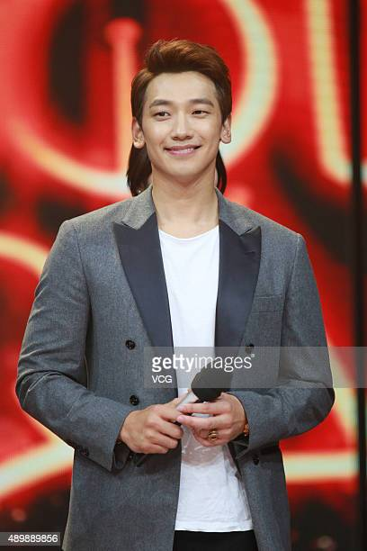 """South Korean model and actor Rain attends the Chinese talk show broadcast """"Day Day Up"""" recording on September 24, 2015 in Changsha, Hunan Province of..."""