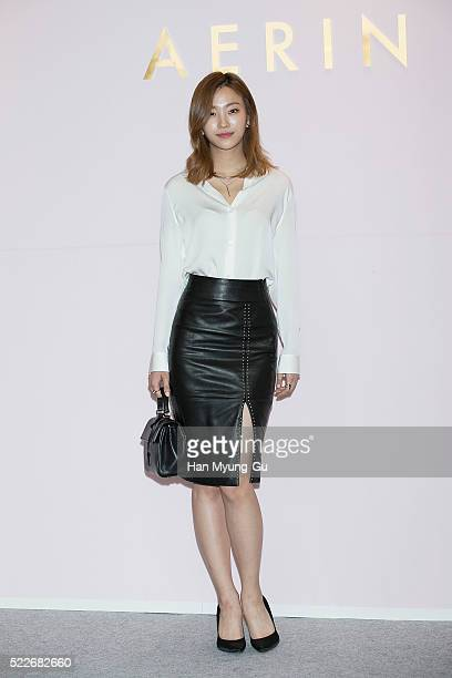 "South Korean model attends the photocall for ""AERIN"" Launch on April 20, 2016 in Seoul, South Korea."