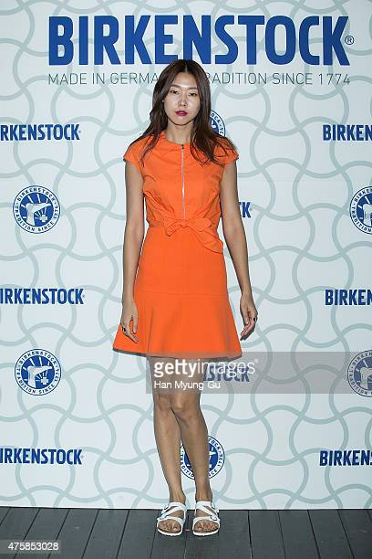 South Korean model Han HyeJin attends the photocall for 'Birkenstock' at LF Fashion on May 28 2015 in Seoul South Korea
