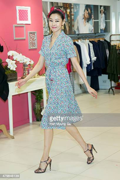 South Korean model Han HyeJin attends the UNIQLO Ines De La Fressange Paris Collection event at Uniqlo Apgujeong Store on March 20 2014 in Seoul...