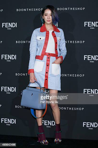 South Korean model Irene Kim attends the photocall for FENDI - Seoul PEEKABOO Project Exhibition at BoonTheShop on November 4, 2015 in Seoul, South...