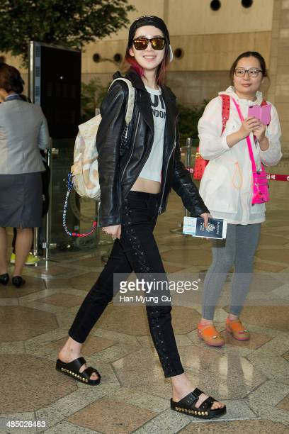 South Korean model Irene Kim is seen on departure at Gimpo International Airport on April 15, 2014 in Seoul, South Korea.