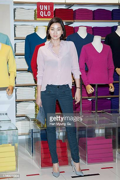 South Korean model Jang YoonJu attends during the 'Uniqlo' 2013 F/W Silk/Cashmere Project press event at Gangnam Uniqlo Store on August 29 2013 in...