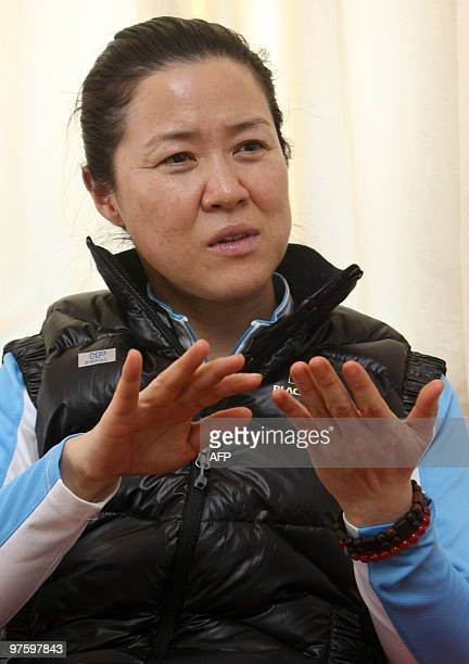 South Korean mountaineer Oh Eunsun gestures during an interview with AFP in Kathmandu on March 9 2010 Oh is hoping to climb Annapurna this spring a...