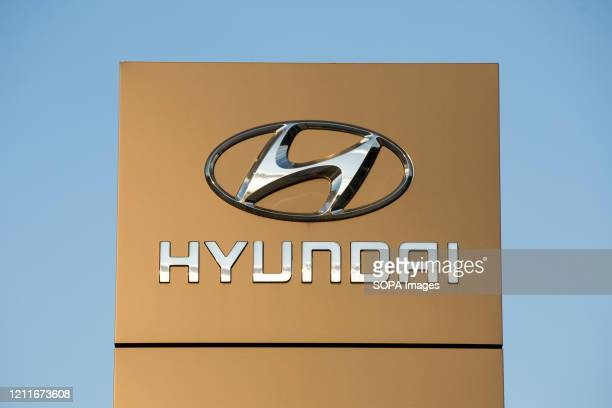 South Korean multinational automotive manufacturer headquartered in Seoul, Hyundai logo seen at one of their car showrooms.