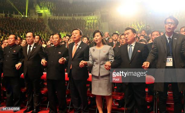 South Korean music director Yoon Sang Hyon Songwol head of the North Korea's Samjiyon Orchestra South Korean Culture Sports and Tourism Minister Do...