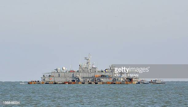 A South Korean Navy mobile sea base platform operating off Yeonpyeong island is pictured on the second anniversary of North Korea's attack on the...