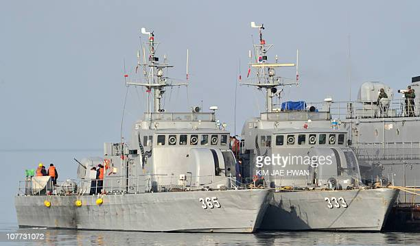South Korean Navy vessels berth at an MSB off the South Koreacontrolled island of Yeonpyeong near the disputed waters of the Yellow Sea on December...