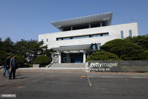 South Korean officials prepare for interKorean summit in front of the Peace House the venue of third interKorean summit at the South Koreaside of the...