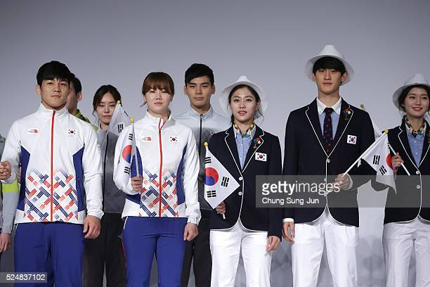 South Korean Olympians and models pose during the Official Uniform Launch at Taereung National team training center on April 27 2016 in Seoul South...