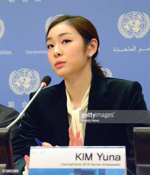 South Korean Olympic gold medalist Kim Yu Na speaks at a press conference at the UN headquarters in New York on Nov 13 after the UN General Assembly...