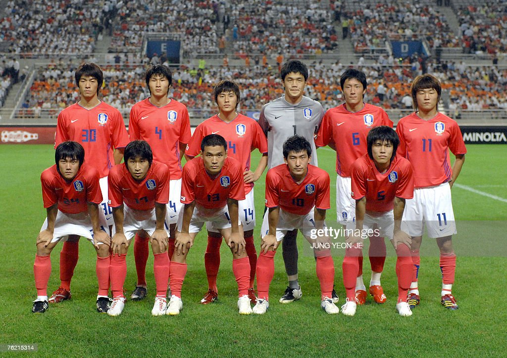 South Korean Olympic national team players pose before the