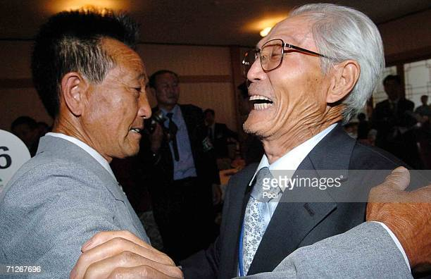 South Korean Park ChunHee meets his North Korean elder brother Park GwangHee during the second round of the 14th Separated Family Reunion Meeting on...