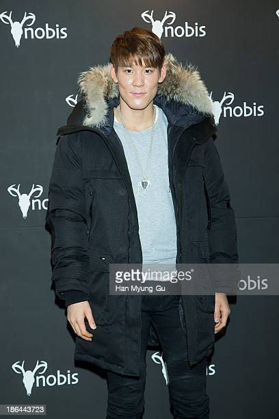 South Korean Park TaeHwan attends the 'Nobis' South Korea launching party at Beyond Museum on October 30 2013 in Seoul South Korea