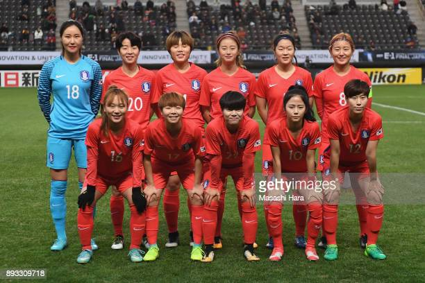 South Korean players line up for the team photos prior to the EAFF E1 Women's Football Championship between South Korea and China at Fukuda Denshi...