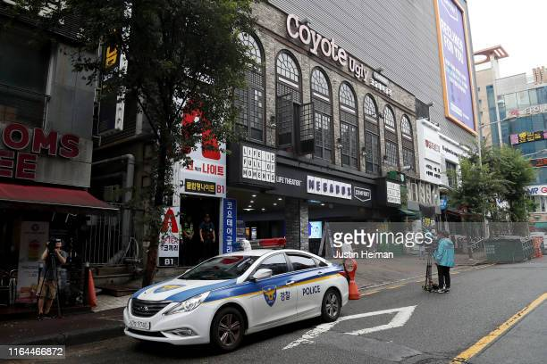 South Korean police car is seen outside the nightclub Coyote Ugly on July 27 2019 in Gwangju South Korea Two people were killed with at least ten...