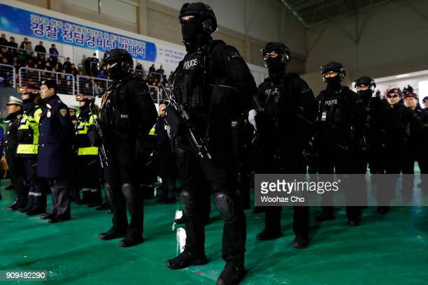 South Korean police participate in the starting ceremony of PyeongChang Olympic Security Force before the PyeongChang 2018 Winter Olympic and...