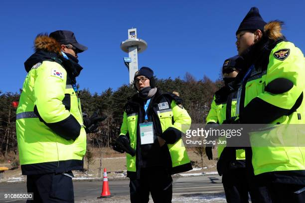 South Korean policemen patrol at the Alpensia Resort venue for the MPC ahead of PyeongChang 2018 Winter Olympic Games on January 27 2018 in...
