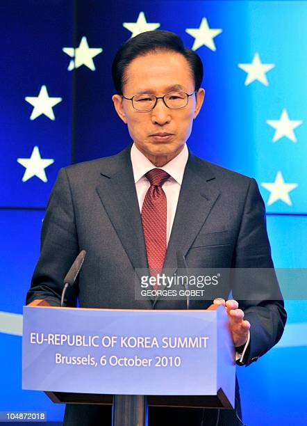South Korean President Lee Myung Bak listens to questions during a joint press conference with EU Council President Herman Van Rompuy following the...