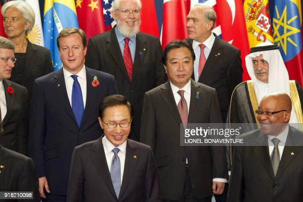 South Korean President Lee MyungBak and South African President Jacob Zuma laugh in front of Canadian Prime Minister Stephen Harper British Prime...