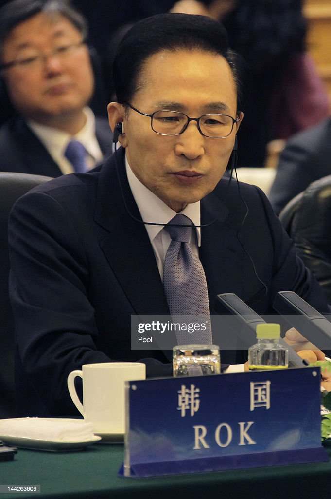 South Korean President Lee Myung-bak attends a meeting with China and Japan at the Great Hall of the People May 13, 2012 in Beijing, China. The three nations are meeting for talks focused on maintaining strong relations, the global economy and disaster relief. The trilateral summits began in 2008.