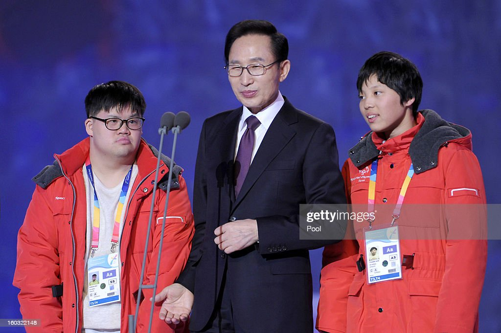 South Korean President Lee Myung-Bak attends the Opening Ceremony of the 2013 Pyeongchang Special Olympics World Winter Games at the Yongpyeong stadium on January 29, 2013 in Pyeongchang-gun, South Korea.