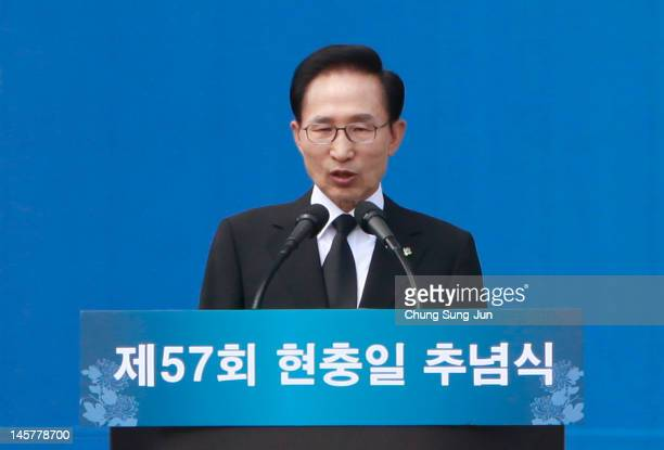 South Korean President Lee MyungBak speaks during a ceremony marking Korean Memorial Day at the Seoul National Cemetery on June 6 2012 in Seoul South...