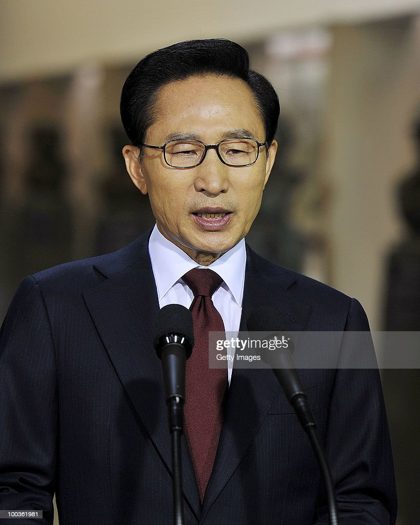 South Korean President Lee Myung-Bak speaks during a press conference at the War Memorial on May 24, 2010 in Seoul, South Korea. President Lee announced to take the North to UN Security Council.