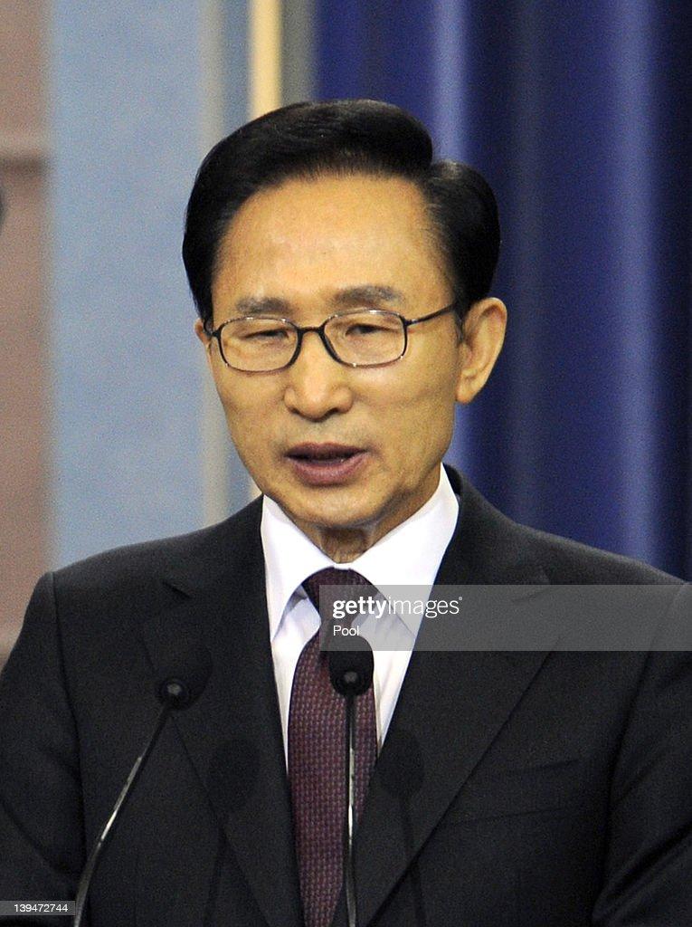 South Korean President Lee Myung-bak Holds Press Conference