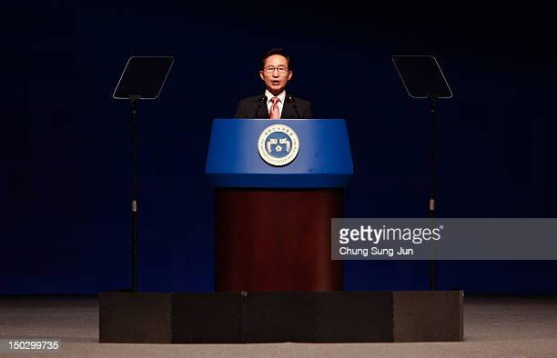 South Korean President Lee MyungBak speaks during the 67th Independence Day ceremony at Sejong Art Center on August 15 2012 in Seoul South Korea...