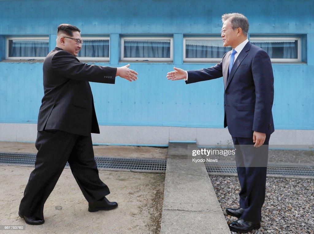 Inter korean summit pictures getty images south korean president moon jae in r and north korean leader kim jong un m4hsunfo