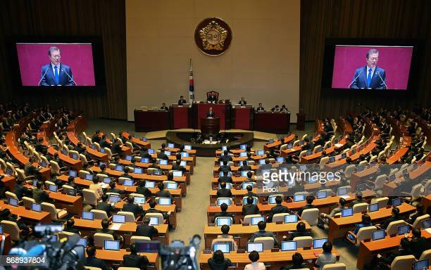 South Korean President Moon Jaein addresses at the national assembly on November 1 2017 in Seoul South Korea Moon spoke on the government budget