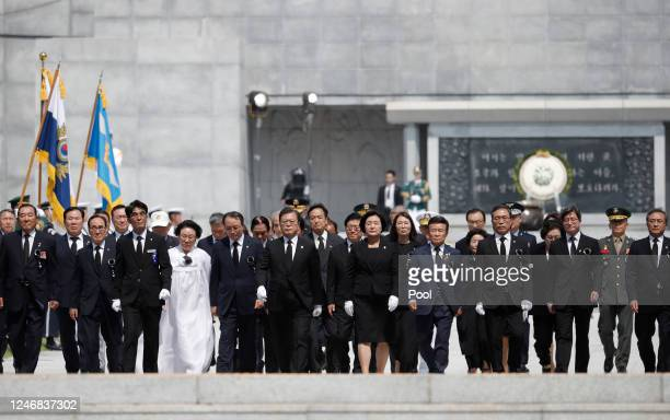 South Korean President Moon Jaein and his wife Kim Jungsook attend during a ceremony marking Korean Memorial Day at the Daejeon National cemetery on...