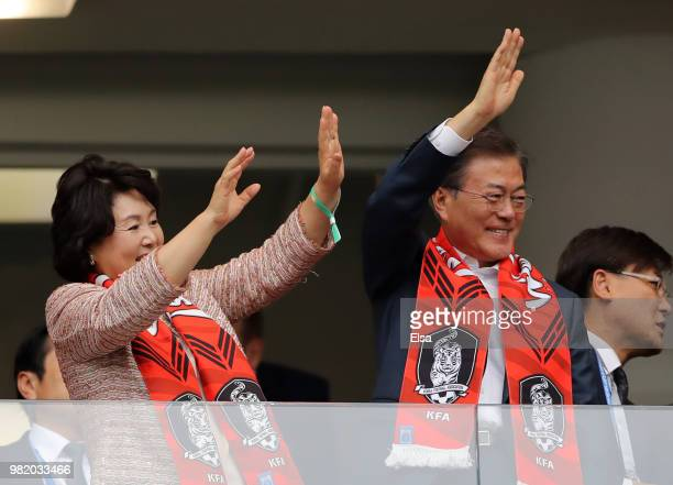 South Korean President Moon Jaein and his wife Kim Jungsook attend the 2018 FIFA World Cup Russia group F match between Korea Republic and Mexico at...