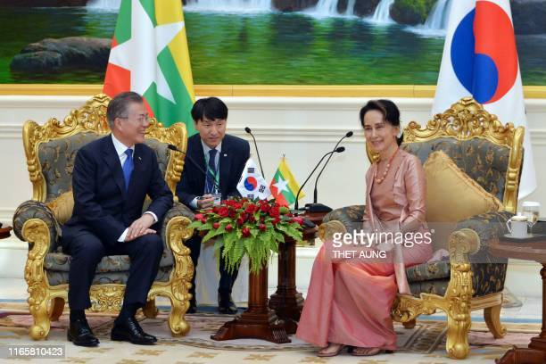 South Korean President Moon Jae-in and Myanmar's State Counsellor Aung San Suu Kyi meet at the presidential palace in Naypyidaw on September 3, 2019.