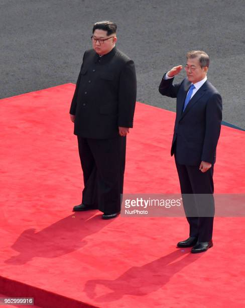 South Korean President Moon Jaein and North Korean leader Kim Jong Un attend the official welcome ceremony ahead of the InterKorean Summit on April...