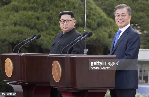 South Korean president, Moon Jae-in and North Korean leader Kim Jong-un are issuing a joint statement in the Peace House building at the southern...