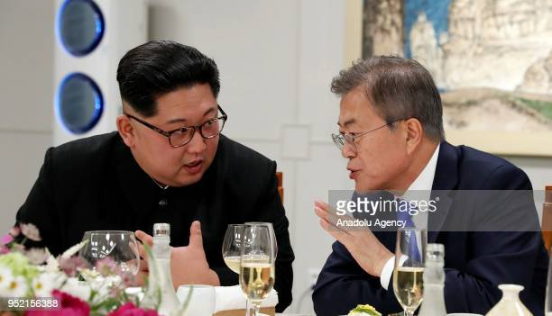 South Korean president, Moon Jae-in and North Korean leader Kim Jong-un attend Dinner banquet in the Peace House building at the southern side of the...