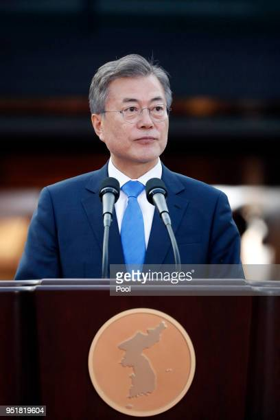 South Korean President Moon Jae-in announces the Panmunjom Declaration for Peace, Prosperity and Unification of the Korean Peninsula during the...