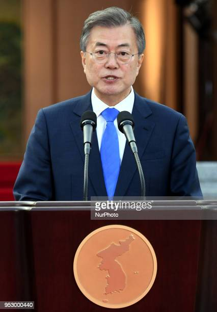 South Korean President Moon Jaein announces the Panmunjom Declaration for Peace Prosperity and Unification of the Korean Peninsula during the...