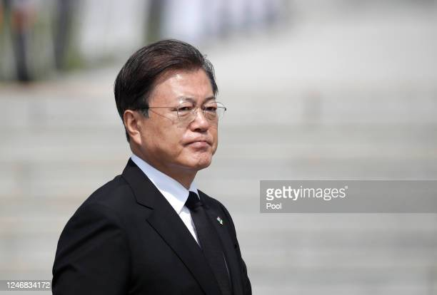 South Korean President Moon Jae-in arrives during a ceremony marking Korean Memorial Day at the Daejeon National cemetery on June 6, 2020 in Daejeon,...